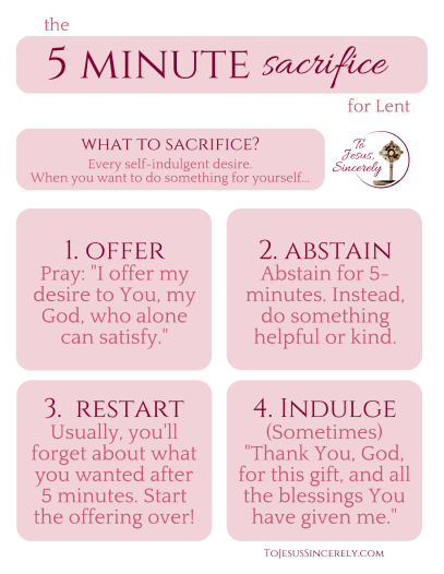 The 5-minute Sacrifice for Lent: Give up self-indulgence!