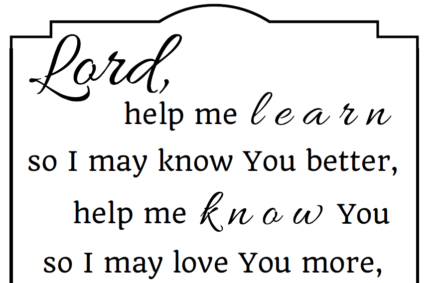 download this printable prayer for young students