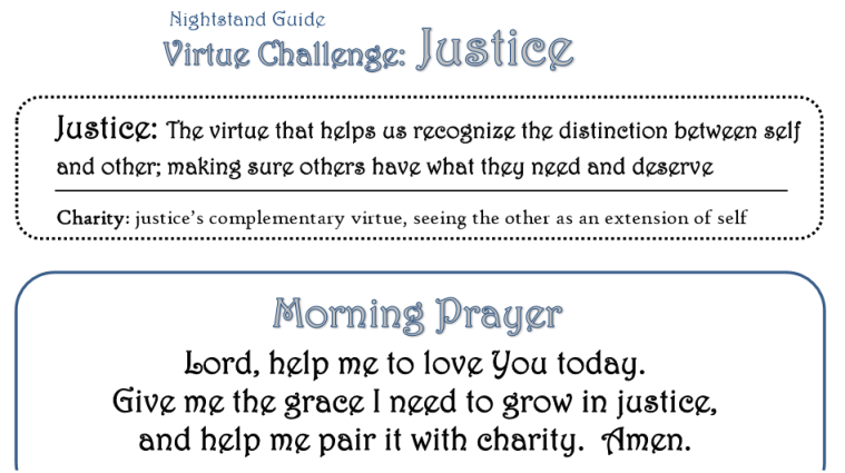 Justice Virtue Challeng Printables