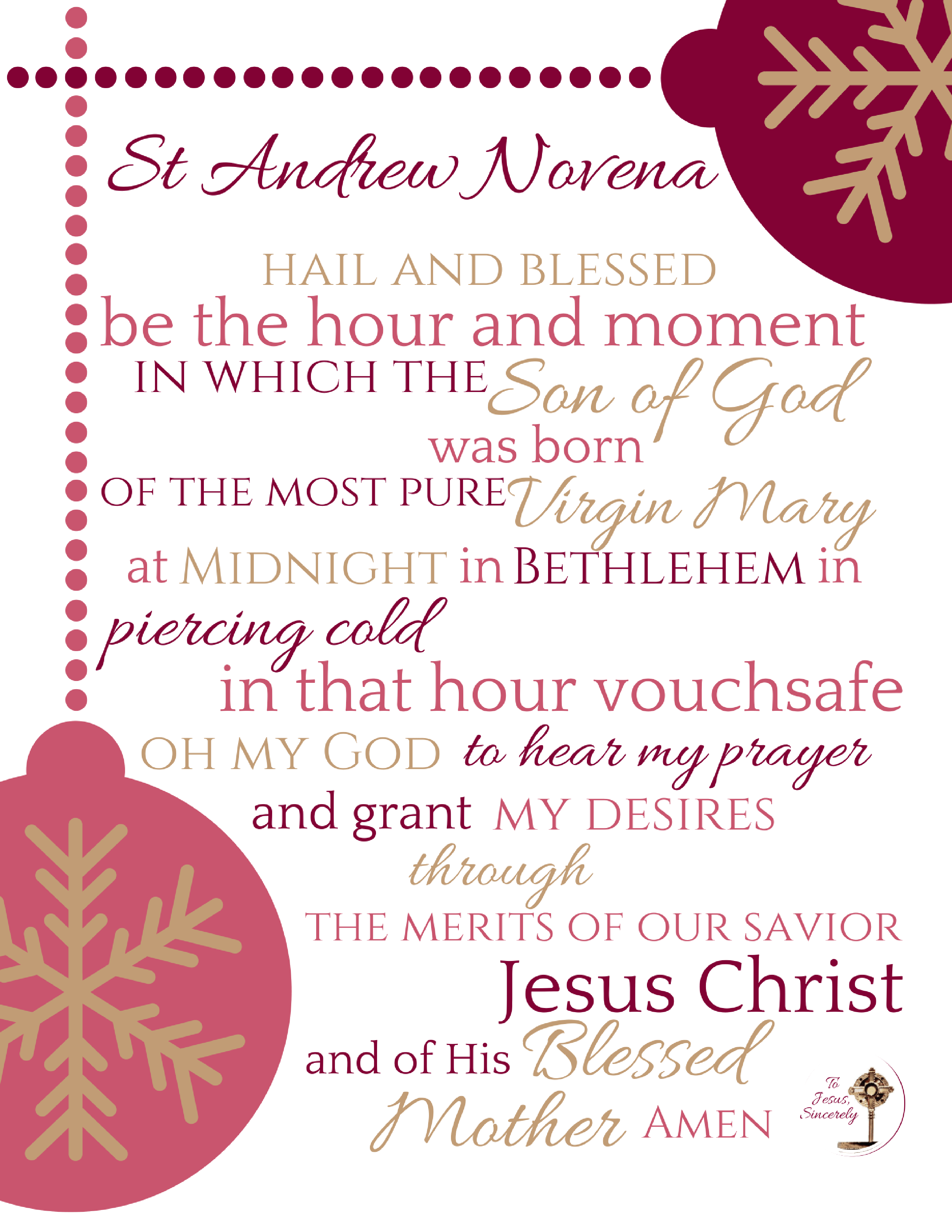 picture relating to St Andrew Novena Printable named A Prayer Lead for Arrival Toward Jesus Sincerely